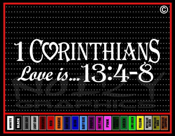 1 Corinthians 134 8 Christian Vinyl Car Window Sticker Decal