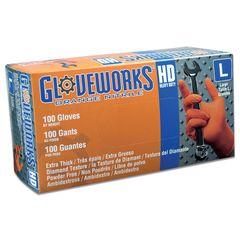 Ammex Gloveworks Orange Nitrile PF Ind. Gloves (Case)