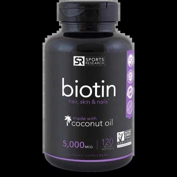 BIOTIN 5000 MCG ENHANCED WITH COCONUT OIL (120 VEGGIE SOFTGELS)