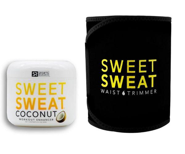 Sweet Sweat Coconut Jar 99g + Waist Trimmer Belt Black