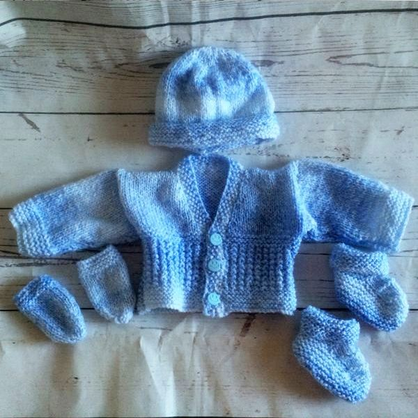 bd754f0e5 Newborn Blue White Cardigan Gift Set