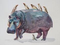 Original Watercolor - Hippo and Birds- SOLD