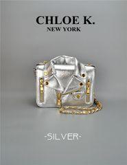 Silver moto bag