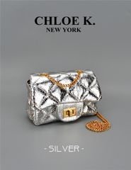 metallic silver mini quilted bag