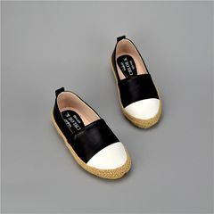 Black leather espadrilles