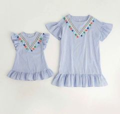 blue and white stripe mommy and me dress