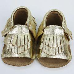 gold fringe mocassin sandal