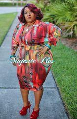 Aztec Print Wrap Style Midi Dress