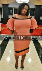 Off Shoulder Bell Sleeve Coral BodyCon