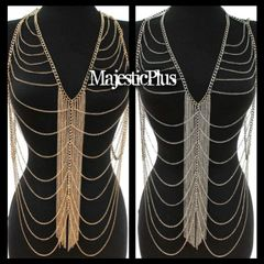 Body Chain Vest w/Draped Sides and Center Fringe