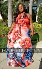 Gathered Smock Neck Floral Maxi Dress