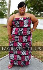 FUCHSIA ABSTRACT STRAPLESS HALTER MAXI DRESS