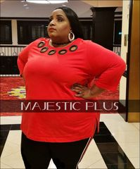 Red Scoop Neck Tunic w/ Large Grommets