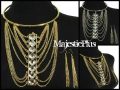 Stacked Crystal Layered Chain Choker Necklace Set