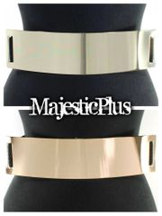 "2.5"" Plus Size Metal Plate Stretch Belt"