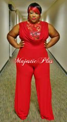 Wide Legged Red Lace Top Jumpsuit w/Draped Bust