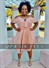 V-Neck Shoulder Flounce Midi Dress- Blush