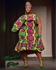 Side Cape Ankara African Dress w/Bottom Ruffle & Headwrap