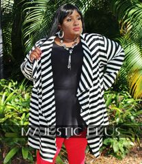 Super Plus Striped Cardigan Jacket