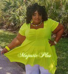 Babydoll Pixie Hem Top- Lime Green