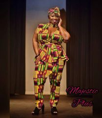 Kente Printed Designer Choker Peplum Pants Set