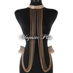 Rhinestone Chain Choker w/Attached Chains & Cuff Bracelets