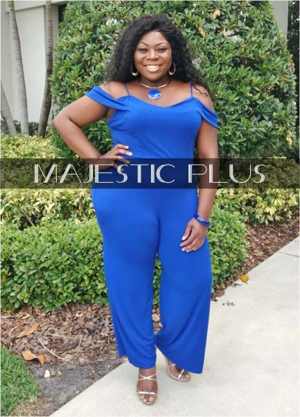 3386441fa601e Super Plus Size Off Shoulder Royal Blue Jumpsuit w Straps
