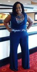 Wide Legged Navy Lace Top Jumpsuit w/Draped Bust