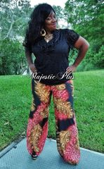 Feather Print Palazzo Pants
