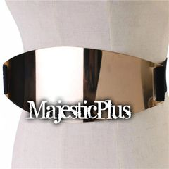 4.5 Plus Size Oval Metal Plate Stretch Belt