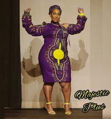 Dashiki Print Long Puffy Sleeve One Shoulder Dress