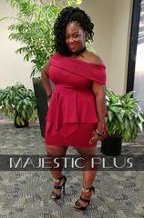 Fold Over Off Shoulder BodyCon Peplum Mini Dress- Burgundy