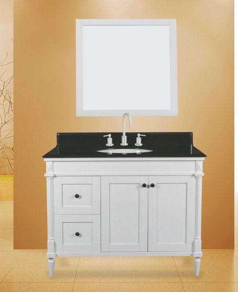 "Bathroom Vanities Woodbridge: Barcelona Vanity Set, 42"" DL, Silky White"