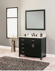 "Arezzo Collection Bathroom Vanity Set, 36"" DL, Silky Black"