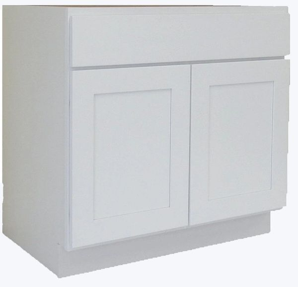 Vanity Cabinet Traditional Shaker White Light Ngy
