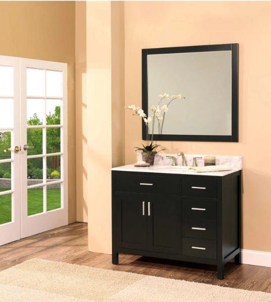 "Bathroom Vanities Woodbridge: Arezzo Collection Bathroom Vanity Set, 42"" DR, Silky Back"