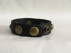 3 Snap Heavy Garment Leather Cockring w/Antique Bronze Domed Rivets