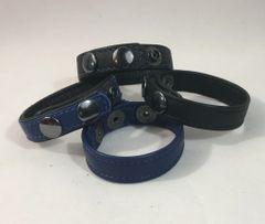 3 Snap Garment Leather Cockring Pkg-Royal Blue