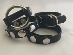 Black Garment Leather Cockring Package