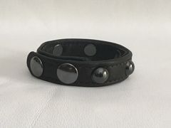 3 Snap Heavy Garment Leather Cockring w/Gunmetal Black Domed Rivets