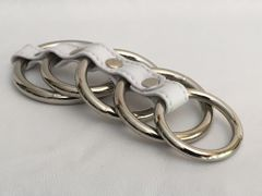 Gates of Hell 5 Metal Rings-White Leather