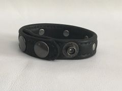 3 Snap Heavy Garment Leather Cockring w/Antique Nickel Studs