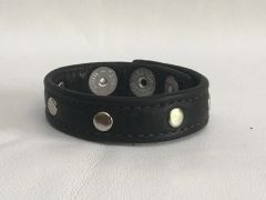 3 Snap Heavy Garment Leather Cockring w/Nickel Studs