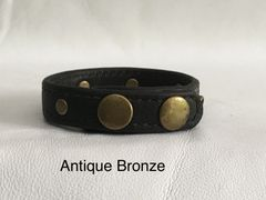 3 Snap Heavy Garment Leather Cockring w/Antique Bronze Studs