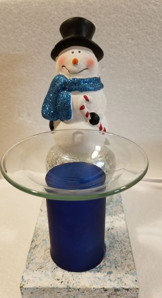 One of a Kind Small Christmas Snowman Blue Scarf Adjustable Electric Burner
