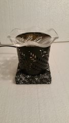 One of a Kind Small Black Metal Fern Electric Burner