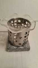One of a Kind Small Silver Metal Leaf Electric Burner