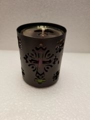 16 Cypresswood Black Metal with Glass Gel Candle