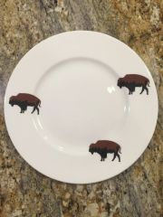 Limited Edition Group of (4) Roaming Buffalo 6-Piece Dinner Place Setting, Plus Free Serving Bowl