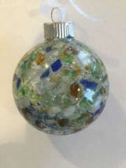 Buffalo Beach Glass Christmas Ornament with Crushed Lake Erie Beach Glass